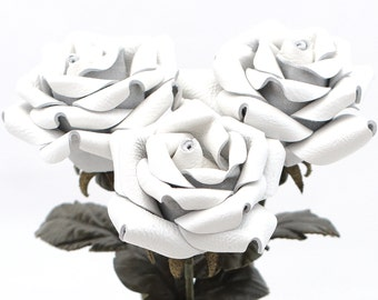 White leather rose bouquet third Anniversary wedding gift Long Stem leather Flower Valentine's Day 3rd Leather Anniversary Mother's Day