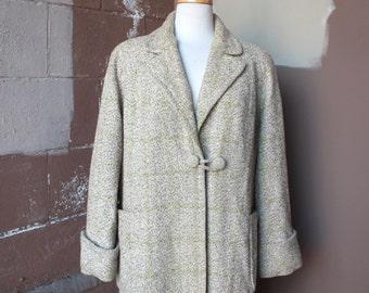 Vintage 1950's Coat // 40s 50s Brown Flecked Tweed and Chartreuse Green Window Pane Plaid Wool Coat // Dress Coat