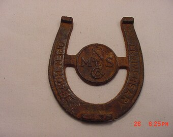 Vintage MNS Co. 85th Anniversary Open House Lucky Horseshoe Metal Paper Weight