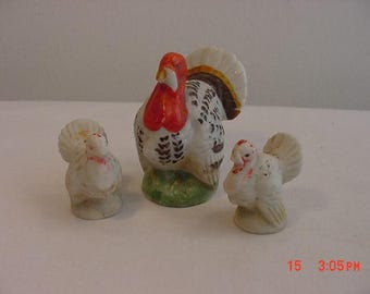 3 Vintage Thanksgiving Turkey Figurine Decorations  17 - 493