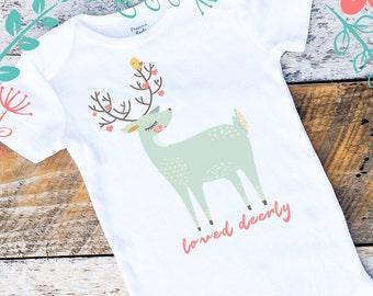 Valentine Onesies®, Loved Deerly Onesies®, Baby Girl Deer Onesie, Baby Girl Valentine Shirt, Girl Onesie, Woodland Onesie, Shabby Chic Baby