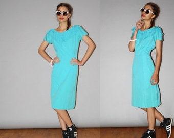 40% Limited time SALE  - 1950s Vintage Designer  Jonathan Logan Rockabilly Turquoise Fringe Cotton Wiggle Dress - Vintage 50s  Pin Up Dress