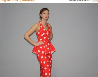 On SALE 40% Off - 1980s Does 1940s Red and White Polka Dot Peplum Pinup Rockabilly Wiggle Dress - Vintage Polka Dot Dress - Vintage Wiggle D