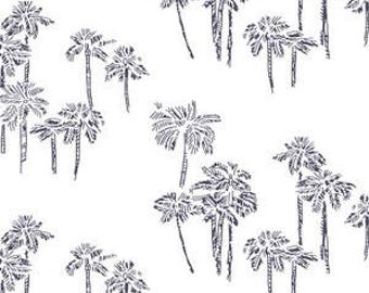 Navy Baby Bedding Palm Tree Crib Sheet / Changing Pad Cover / Navy Blue Fitted Sheet / Coastal Baby Bedding Tropical