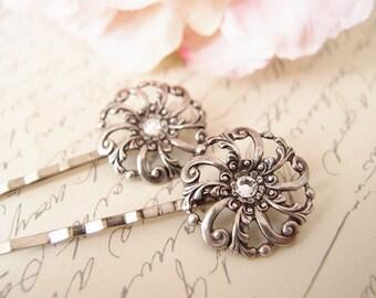 Swarovski crystal floral bobby pins-medieval-shabby chic-steampunk-Victorian V055