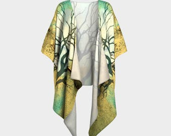Glowing Moon Draped Kimono in Gold and Turquoise