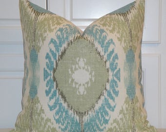 Decorative Pillow Cover - Aqua - Soft Green -  IKAT - Accent Pillow - Cushion cover - Pillow Case - Sofa Pillow