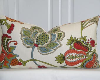 BOTH SIDES - Decorative Pillow Cover - Floral - Orange - Blue - Kiwi Green - Crimson - Jacobean print