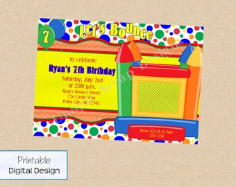Let's Bounce Birthday Party Invitation Style DI2130 DIGITAL FILE - Printable