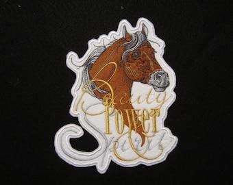 Large Embroidered Iron On Patch, Horse Iron On Patch, Horses, Horse Patch, Horse Applique, Equestrian Western, Southwestern