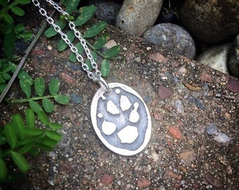 10 dollars off: I Wear Your PawPrint on my Heart - Sterling Pendant - Your Pet's Actual Pawprint