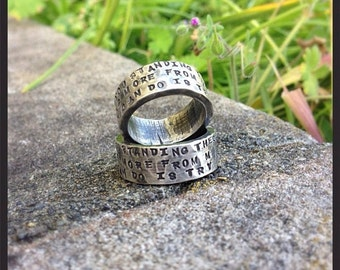 10 dollars off: HIS and HERS - Custom WIDE Sterling Silver Hand Stamped Rings Set