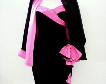 Vintage 80s Black Velvet Cocktail Party Dress w Hot Pink Satin and Matching Evening Jacket - Strapless Black Velvet Prom Dress - Small 3/4