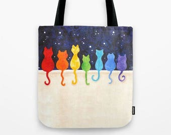 Rainbow Cats on a Wall,  Tote Bag,  16x16 inch art print tote