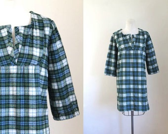 50% OFF...last call // vintage wool dress - PREPPY PLAID flannel tunic / s/m