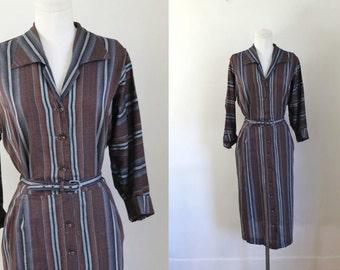 vintage 1950s dress - HATTIE LEEDS brown striped shirt dress / L