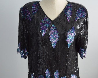 Sale 20% OFF Vintage Bejeweled Sequined SCALLOPED LEAVES Edge Top Blouse Short Sleeve