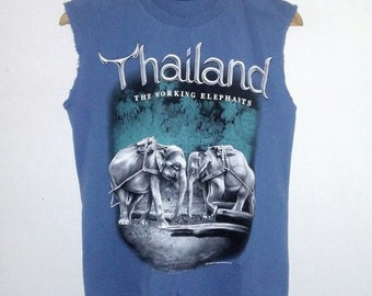 Thailand TShirt / Muscle Tee / Elephant / Graphic Shirt / Distressed / Indie / Grunge / Rock N Roll / Travel Tee / Unisex / Women / Men