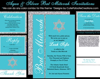 Aqua Blue & Silver Bat Mitzvah Invitation with Jewish Star - Rsvp Reply Card - Thank You Notes - Envelope Addressing - USE FOR ANY Event