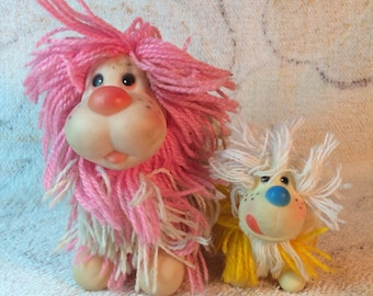 Pair of Fluppy Dog Rubber Toys Yarn 1980s Squeaker Toy