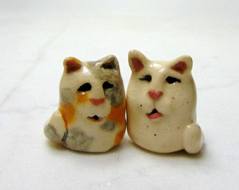 Kitten Miniature Figurines - Terrarium Cat Figurines - Pottery Cats - Ceramic Figurines - White Cat - Dilute Calico - set of 2