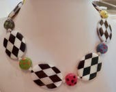 Black and White Checkerboard Necklace with Kazuri Beads Black White and Wonderful