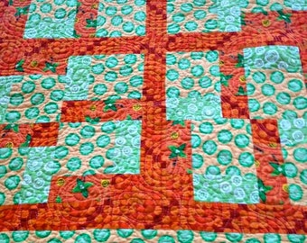"""Handmade Baby Quilt, Modern Baby Blanket, Toddler Quilt, Crib Quilt, Unisex, Green, Yellow and Orange, Frogs, Palm Trees – 39-1/2"""" x 33-1/2"""""""