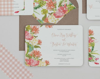 Rustic Floral Summer Wedding Invitations,Colorful Floral Wedding Invites,Spring Floral Wedding Invite,Bright Floral Country Wedding Invites