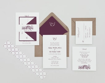 Modern Burgundy Calligraphy Wedding Invitations,Vineyard Wedding,Winery Wedding invites,Laurel Monogram Calligraphy, Modern Calligraphy