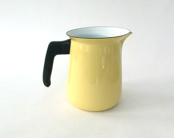 Enamel PITCHER Mid-Century YELLOW Coffee 50s 60s ARABIA?