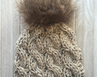 Chunky Knitted Cable Hat With Faux Fur Pom Pom - Chunky Knitted Hat - Hand Knitted Cable Hats -Faux Pom Pom - Women's Knitted Hats