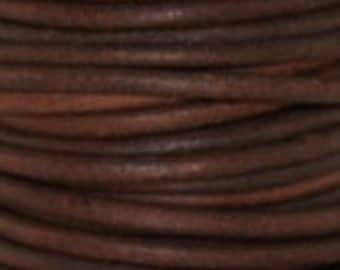 3mm Leather Cord - Natural Red Brown - 1 Meter Premium Quality Round Cording
