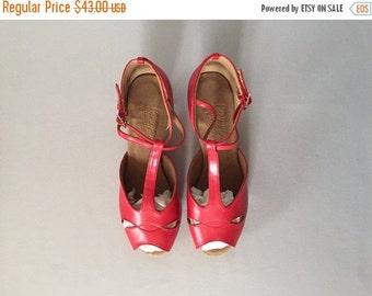 30% OFF WINTER SALE... lipstick red T-srap pip toe pumps | double ankle strap pumps | 9