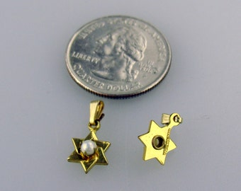 NOS Magen David - Star of David pendants with a Cultured Pearl GF