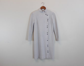 Vintage Gray Button Down Mini Long Sleeve Dress
