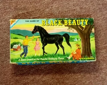 Vintage Game of Black Beauty 1958 Transogram Board Game w Horse Spinner 50's Mid Century Collectible Toy Beloved Children's Book