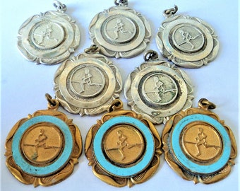 8x Vintage Athletics Fobs... Some Gold Enamel, Others Silver... Running Track