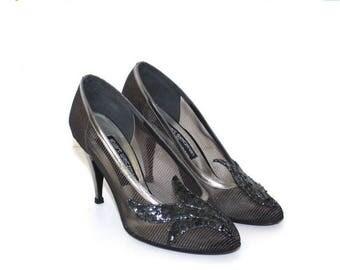40% OFF SALE Silver black Stuart Weitzman party pumps. vintage 1980s stiletto heels shoes . formal evening sequins dressy mesh pumps Size 7