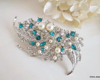 Blue Swarovski Crystal and Pearl Wedding Comb Wedding Hair Accessories Vintage Style blue wedding hair comb Bridal Hair Comb ETTA
