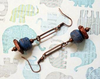 Blue and Copper Rustic Boho Earrings (3394)