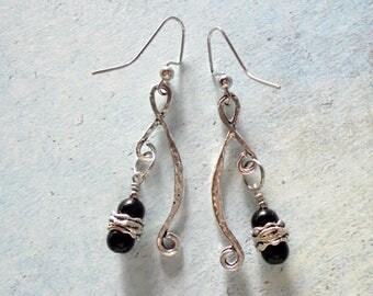 Black and Silver Boho Earrings (3444)