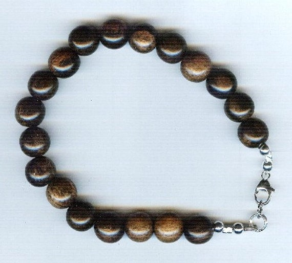 Stunning High Quality Tiger (or Black) Ebony Wood Beaded Bracelet or Necklace