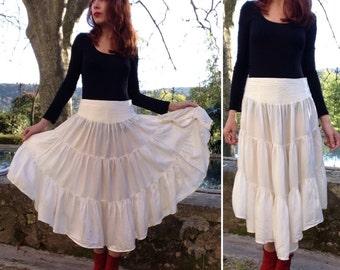 1970s VTG silk chiffon boho hippie gypsy ruffles skirt