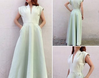 1940s celadon green rayon maxi dress
