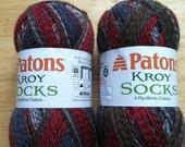 Two Skeins of Patons Kroy Sock Yarn, Self Striping Sock Yarn, Gray, Brown, Red Sock Yarn, 4 Ply Sock Yarn, Superwash Sock Yarn - Colorful