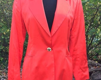 Vintage 80s ESCADA Blazer / Red Cotton Jacket / Equestrian / Margaretha Ley