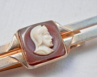 Vintage Tie Clip Swank Mens Accessories Intaglio Faux Cameo Roman Warrior Goldtone Money Clip Mens Accessory Vintage Man Mens Gifts
