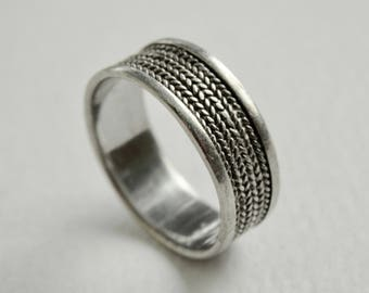 Wide Band Ring Sterling Silver Textured Woven Herringbone Band Size 7 Ring Vintage Mens Jewelry Mens Ring Wedding Band Vintage Jewelry 925