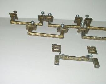 Vintage Pulls Hardware Distressed Salvage 7 pieces Backplates Swirl Handle sm