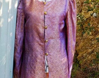 silk brocade long top - paisley hippy coat -  vintage 60s inspired  -  large
